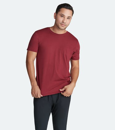 Soft Jersey Crew Tee in Cabernet