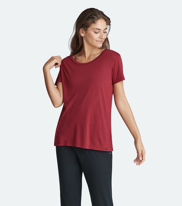 Soft Jersey Scoop Tee in Cabernet