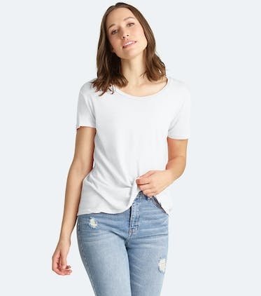Soft Jersey Scoop Tee in White