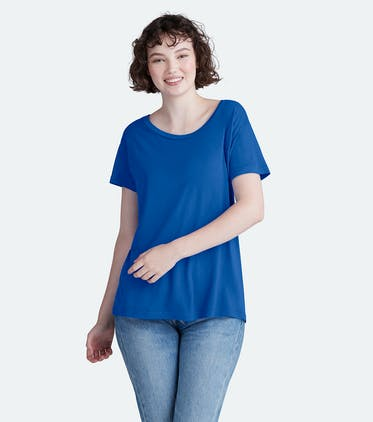 Soft Jersey Scoop Tee in Brilliant Blue