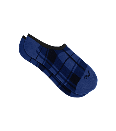 No Show Sock in Midnight Plaid